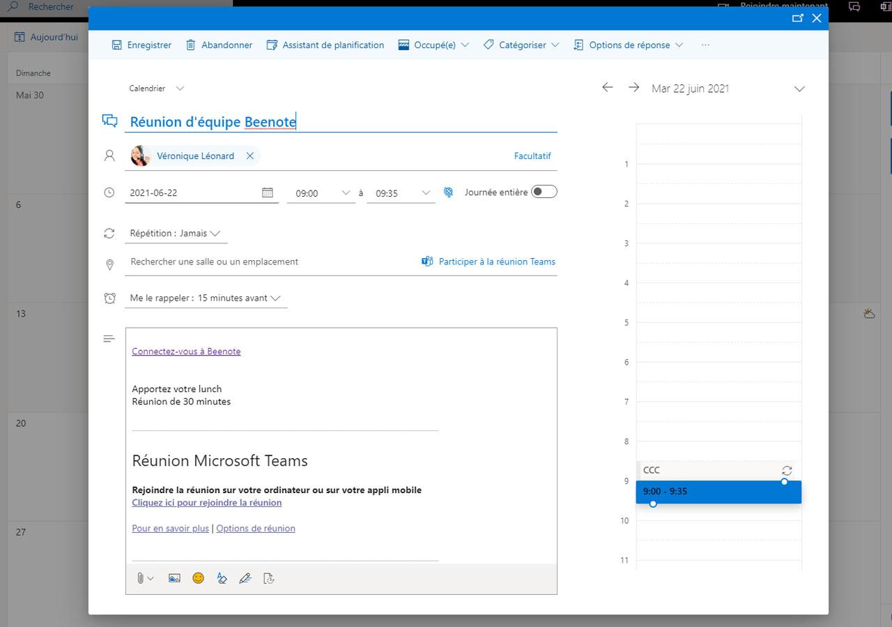Beenote-integrations-microsoft-365-associer-evenement-existant -calendrier-outlook