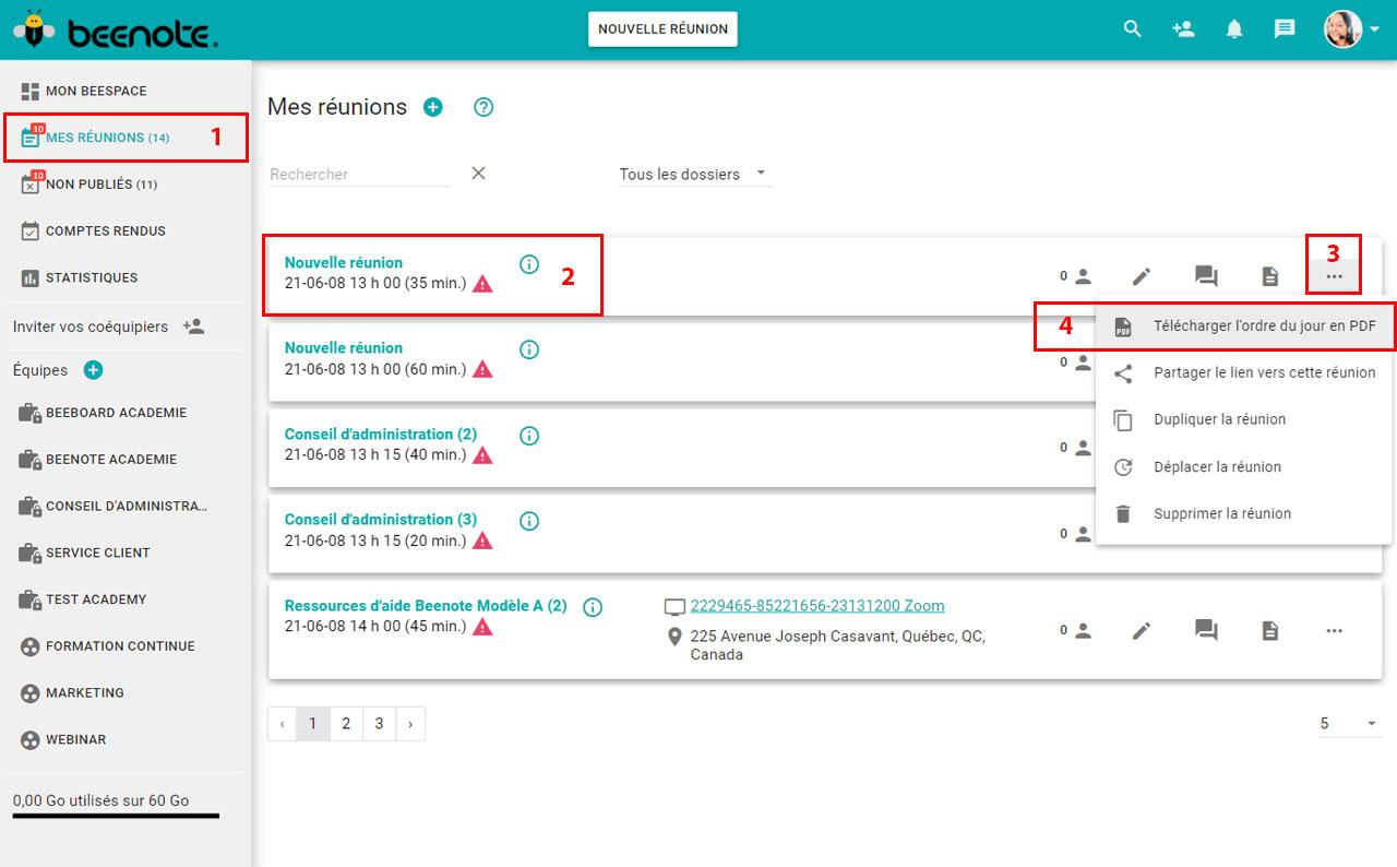 Beenote-etat-ordre-du-jour-beespace-consultation-telecharger-pdf