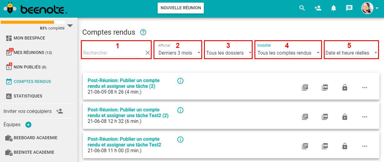 Beenote-repertoire-comptes-rendus-fonctions-recherches