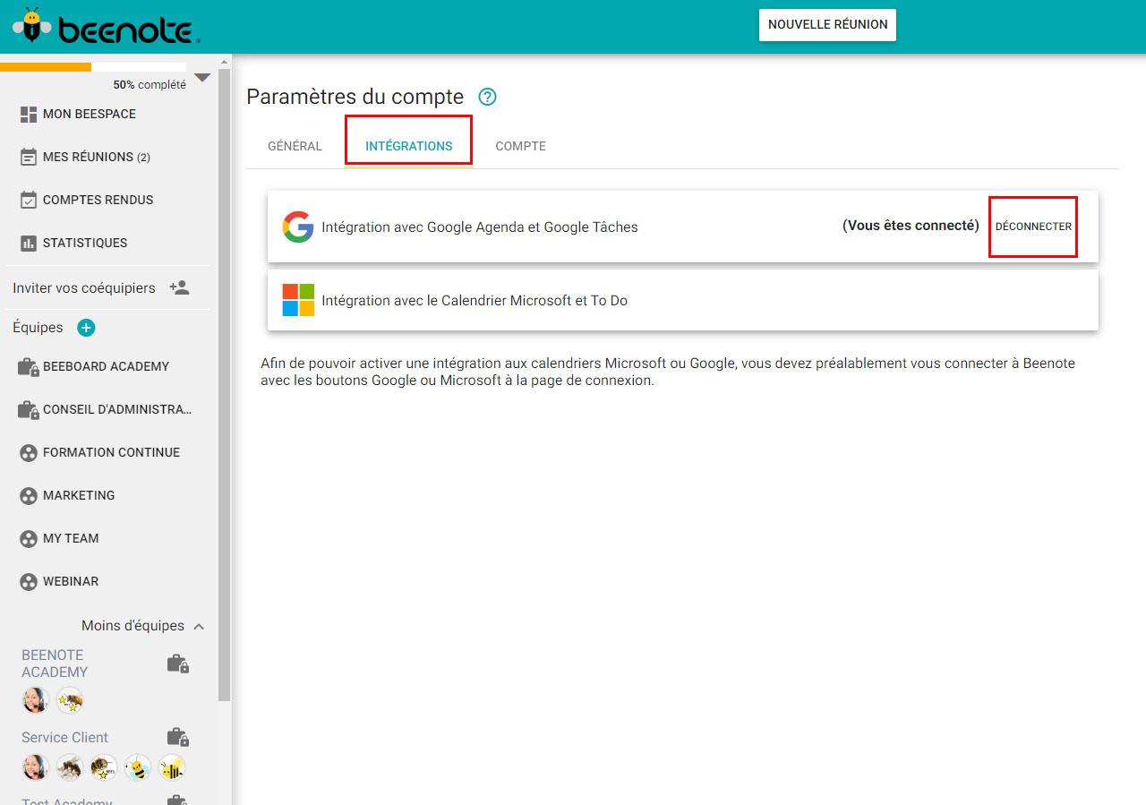 Beenote-integrations-agenda-google-Deconnecter-FR