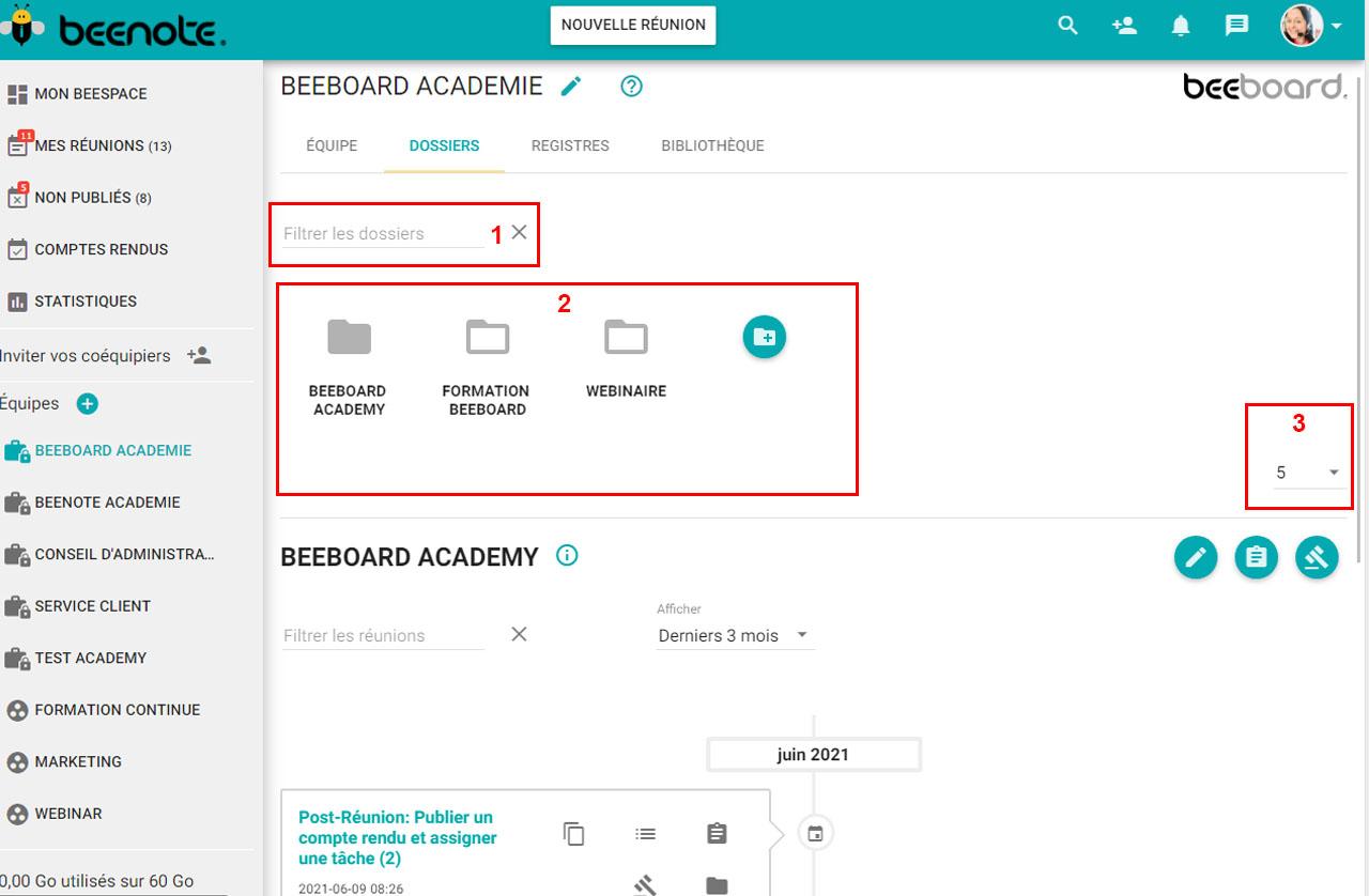 Beenote-Folder-Management-search-folder-by-team