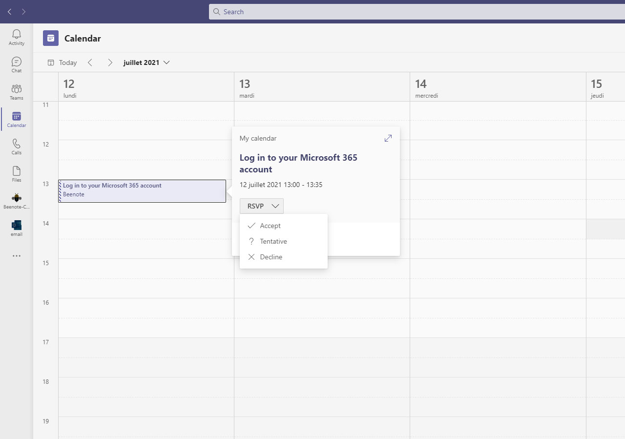 Beenote-Microsoft Outlook Calendar-link-to-an-existing-event-3